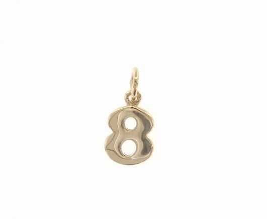 18K YELLOW GOLD NUMBER 8 EIGHT PENDANT CHARM, 0.7 INCHES, 17 MM, MADE IN ITALY