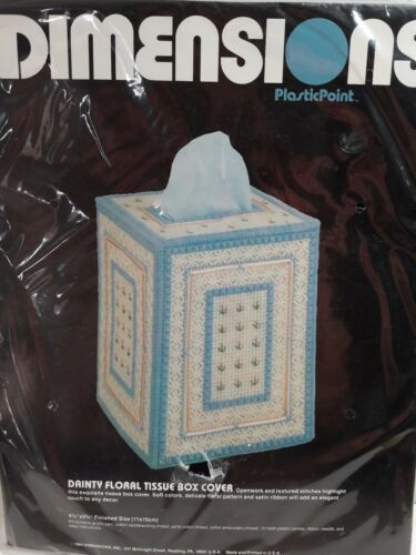 Primary image for Dimensions Plastic Point 2526  Dainty Floral Tissue Box Cover 1984 New  Canvas