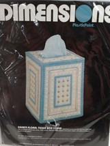 Dimensions Plastic Point 2526  Dainty Floral Tissue Box Cover 1984 New  Canvas - $16.65