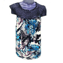 Perseption Concept Womens Shirt Sleeveless Black Turquoise Brown Size Me... - $15.18