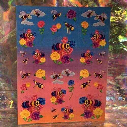 LOVELY Vintage Lisa Frank Complete Sticker Sheet  Bees Roses  S366 1daySHIP!