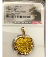 COLOMBIA 1701 2 ESCUDOS 1715 FLEET PENDANT GOLD COIN NECKLACE JEWELRY TR... - $7,750.00