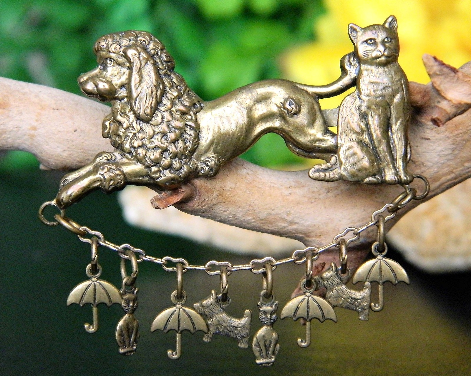 Vintage Raining Cats and Dogs Brooch Pin Poodle Scotty Umbrella Brass