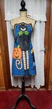 Halloween Canvas Apron w/Jack-o-lantern pocket w/matching embellished tea towel - $25.00