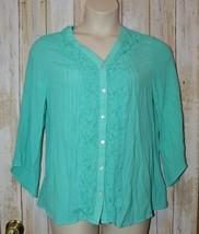 Womens Aqua Green Lace Accent Notations Long Sleeve Shirt Size XL excellent - $7.91