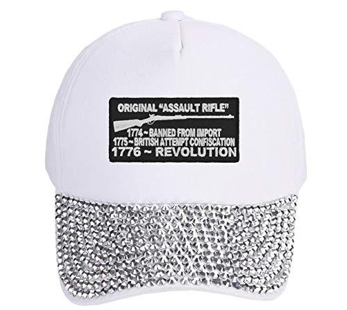 Original Rifle Hat Adjustable White Studded Womens Cap 1776 2nd Amendment 2A