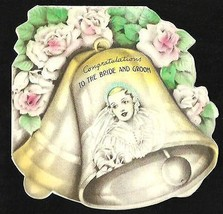 Bride Bells Roses Floral Die Cut Print Wedding Gown Greeting Card 1937 H... - $9.99