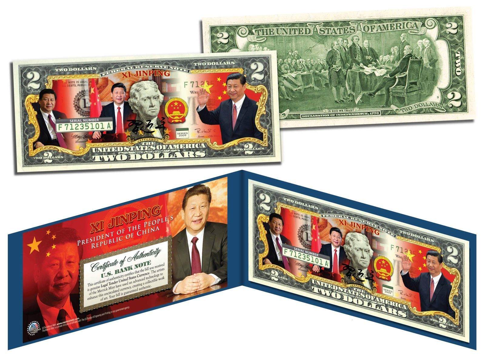 Primary image for XI JINPING * President of China * Colorized $2 Bill U.S. Genuine Legal Tender