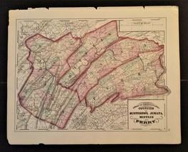 "1872 antique hand colored MAP pa HUNTINGDON JUNIATA MIFFLIN PERRY 17.25""... - $67.50"