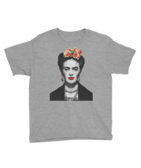 Frida Kahlo With Flowers Poster Artwork Youth T-Shirt - $20.90