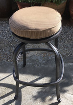 Patio Swivel Bar Stool Short With Cushion set of 4 Outdoor cast aluminum seats image 2