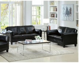 Andorra 2 Piece Sofa Set Upholstered in Black Leatherette - $998.00