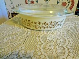 "Vintage Pyrex Golden Casserole with lid 2 quart 13 x 9 "" - $34.65"