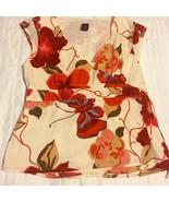 GAP wrap blouse cap sleeve shirt Ladies Deep red & pink flowers on cream... - $11.88