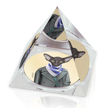 "Black Dressed Up Cat Illustrated Animal Art 3.25"" Crystal Pyramid Paperw... - $29.95"