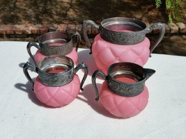 4pc Consolidated Glass Pink Satin Florette Quilt Silver Plate Handle Lg ... - $349.99