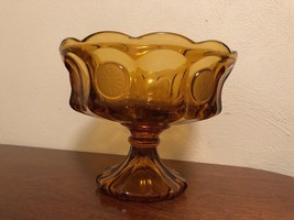"Fostoria Frosted Coin Glass Amber 8 1/2"" Ftd. Bowl - $12.50"