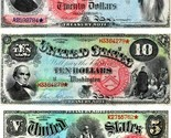 1869 Rainbow Series Repro.of  8 notes  / $1, $2, $5, $10, $20, 50,100, & 500 - $883,41 MXN