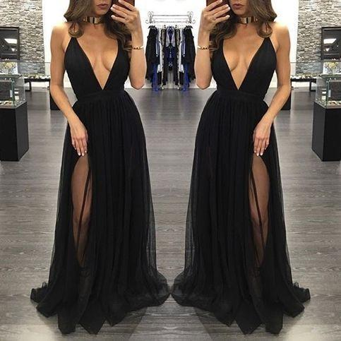 black Evening Dress,v-neck Prom Dress,long prom dress, sexy prom dress,tulle eve