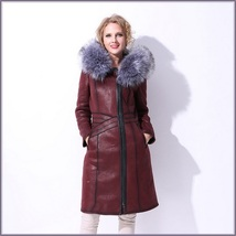 Silver Russian Fox Fur Hooded Collar Long Sleeves Plush Lined Faux Leather Coat image 3