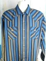 Plains Western Wear Mens XL Long Sleeve Pearl Snap Blue Striped Western ... - $16.65