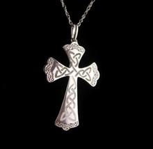 Gothic sterling diamond cross necklace - Vintage signed Irish celtic love knot   - $95.00
