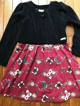 NWT QUIMBY GIRLS 2PC CAT MASK PRINT DRESS WITH BLACK VELOUR JACKET SIZE: 6 - $14.24
