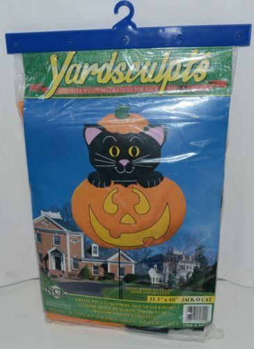 New Creative Enterprises 70822 Yardsculpts Jack O Cat Nylon Banner