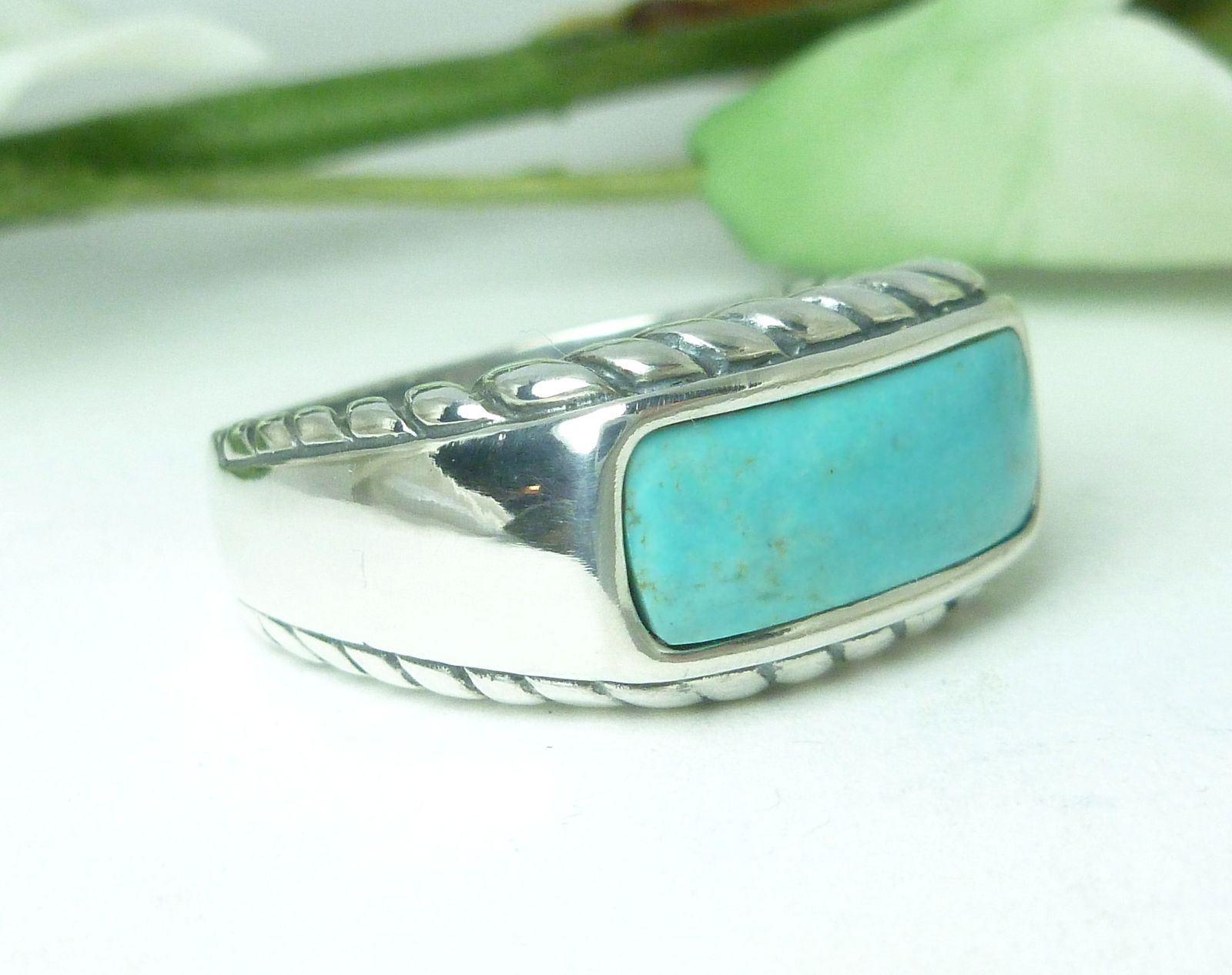 Carolyn Pollack Blue Turquoise Rope Design Ring Size 7