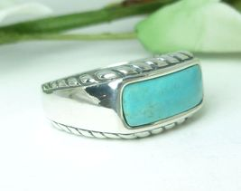Carolyn Pollack Blue Turquoise Rope Design Ring Size 7 - $39.00