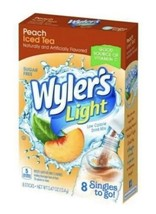 Peach Iced Tea Mix - WYLER'S LIGHT SINGLES TO GO DRINK MIX 8 PACKS ON TH... - $1.99
