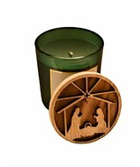 DW Home Winter Pine Hand Poured Candle with Carved Wood Top Manger Scene... - $25.73
