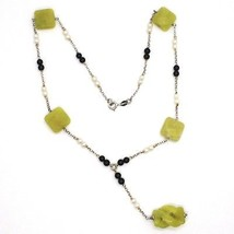 SILVER 925 NECKLACE, ONYX BLACK, JASPER GREEN, PEARLS, WITH HANGING CHARM image 2