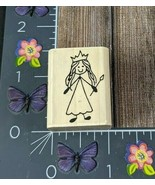 AIP VIP Queen Rubber Stamp 1997 Lady Woman Crown Dress Wood #H89 - $7.91