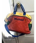 VTG 1990s Lilian Vernon Kids Primary Color Block MICHAEL Travel Duffel Bag - $49.99