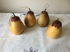 Vintage Lot Of 4 Realistic Faux Fruit Pear Christmas Tree Ornament Yello... - $16.82
