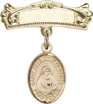14K Gold Baby Badge with St. Bede the Venerable Charm Pin 7/8 X 3/4 inch - $507.83