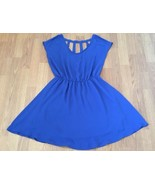 Lush Dress Size Medium Blue Cut Out Elastic Waistband - $12.38