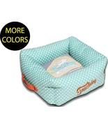 Polka-Striped Polo Easy Wash Squared Boxed Fashion Pet Dog Bed Beds - $52.49+