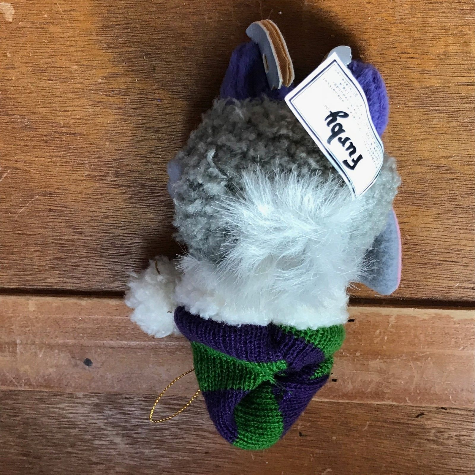Two-Toned Gray Skating FURBY with Purple & Green Striped Knit Hat Christmas Tree