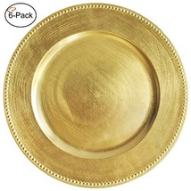 Tiger Chef 13-inch Gold Round Beaded Charger Plates, Set of 2,4,6, 12 or... - $27.96