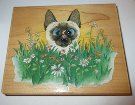 Siamese Cat Rubber Stamp Bee Wildered Flowers Large Gary Patterson Garden Rare  - $16.82