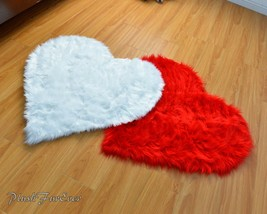 "Pair 60"" x 60"" Valentine's Day Heart Red/ White Shaggy Faux Fur Couple Rugs - $190.00"