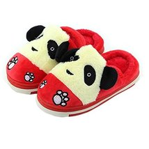 Cute Panda Winter Shoes Warm Indoor Slippers for Baby Girls (Red, L13.8CM)