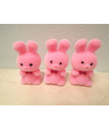 3 MIni Pink Flocked Easter Bunnies Rabbits Shabby Chic Bunny Crafts - $3.99