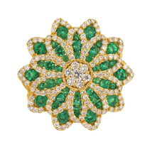 Big Fancy Flower Shaped with Diamonds & Columbian Emeralds Ring - $1,800.00