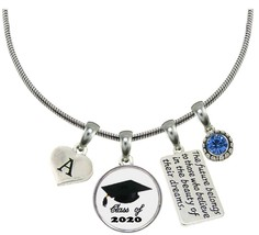 Custom Class of 2020 Graduation Hat Silver Necklace Gift Choose Initial & Color - $15.04+