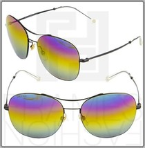 GUCCI TECHNO COLOR 4253 Black Round Rainbow Mirrored Metal Sunglasses GG... - $311.85