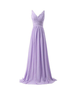 Sexy Lavender Chiffon Long Prom Dresses Ruffle Women Party Gowns Plus Si... - $65.00