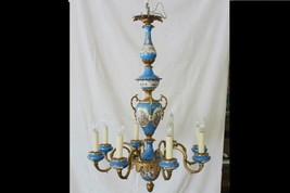 Elaborate French Multi-Tiered 20th Century Eight-Arm Sevres Porcelain Ch... - $3,450.00